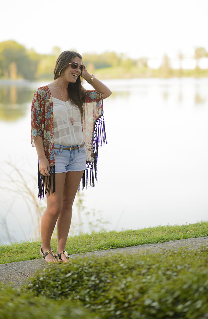 Kimono spring outfit with JuJu's Boutique | Southern Flair