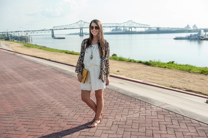 Leopard Kimono with Cream Dress | LSU Gameday Outfit