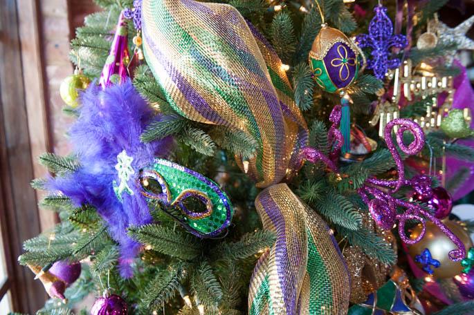 Decorating a Mard Gras Christmas Tree