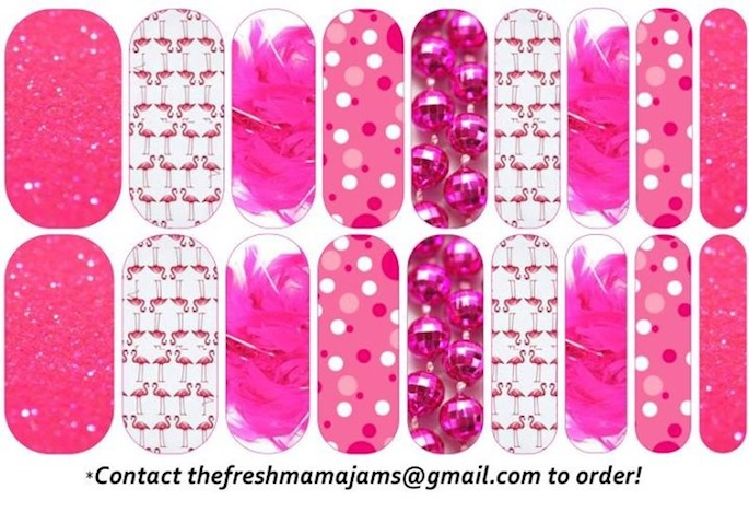 Pink Flamingo Jamberry Nail Wraps designed just for the Spanish Town Mardi Gras parade!