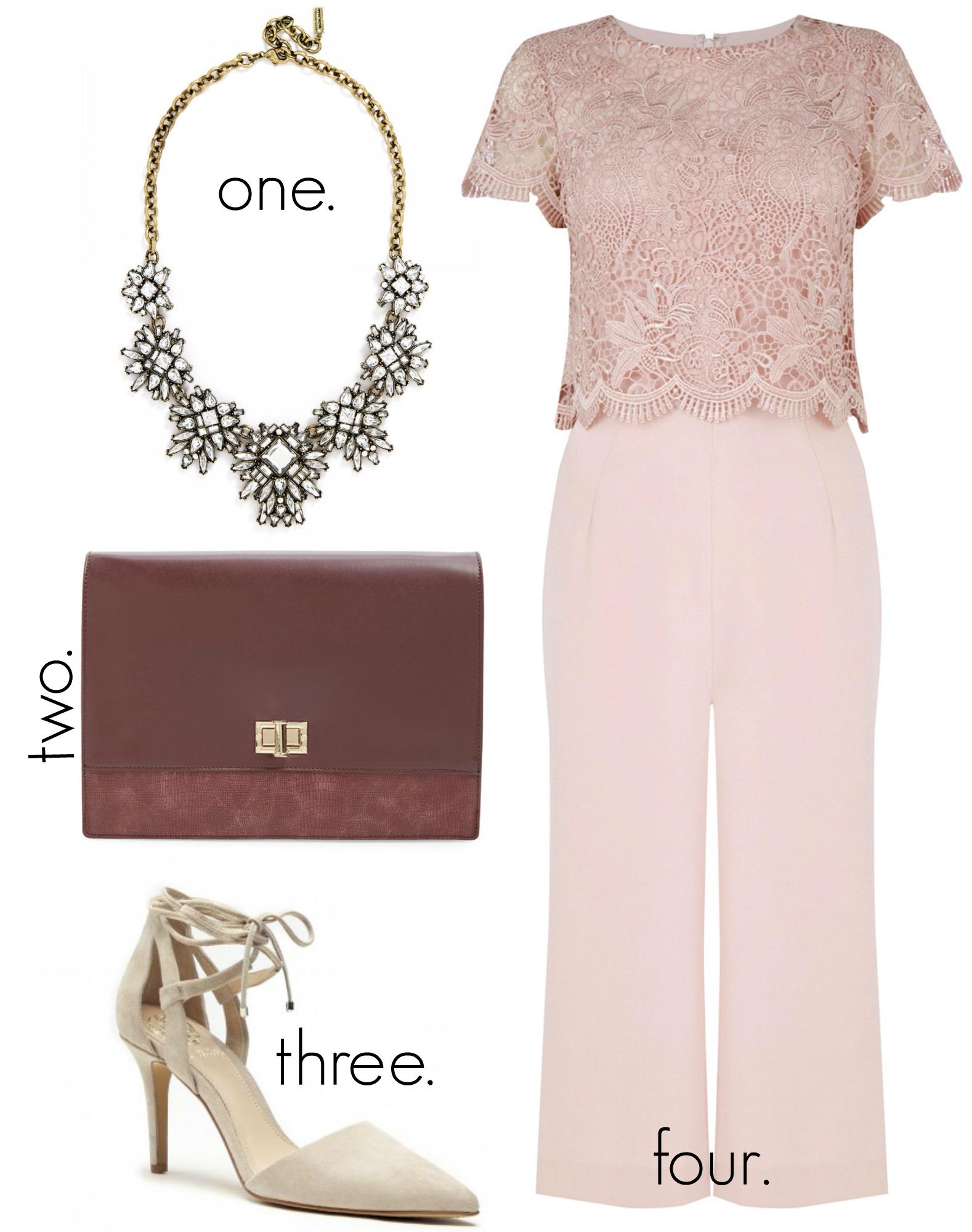 All Pink Lace Culotte Jumpsuit
