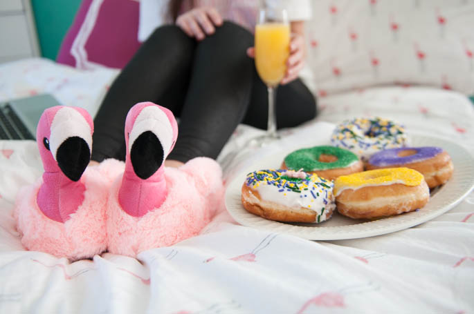 Flamingo Slippers and Mardi Gras Donuts