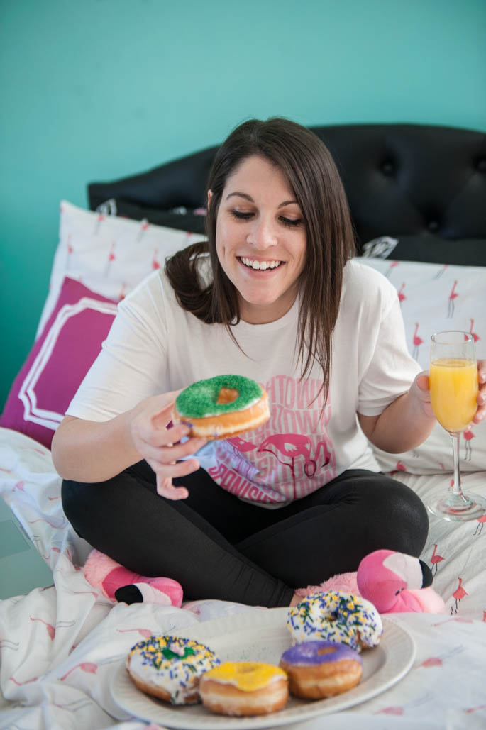 Mardi Gras King Cake Donuts & Mimosas