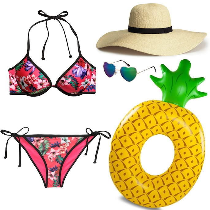 The cutest floral bikini paired with a floppy hat a pineapple pool float!