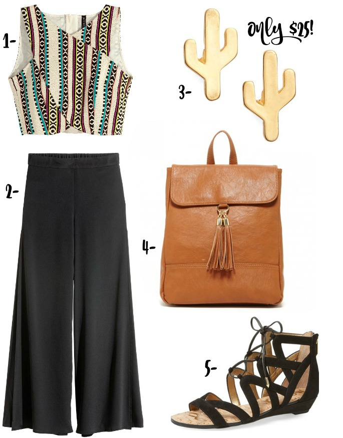 Coachella-inspired or festival season outfit with wide leg pants, crop top, backpack, sandals and cactus earrings!