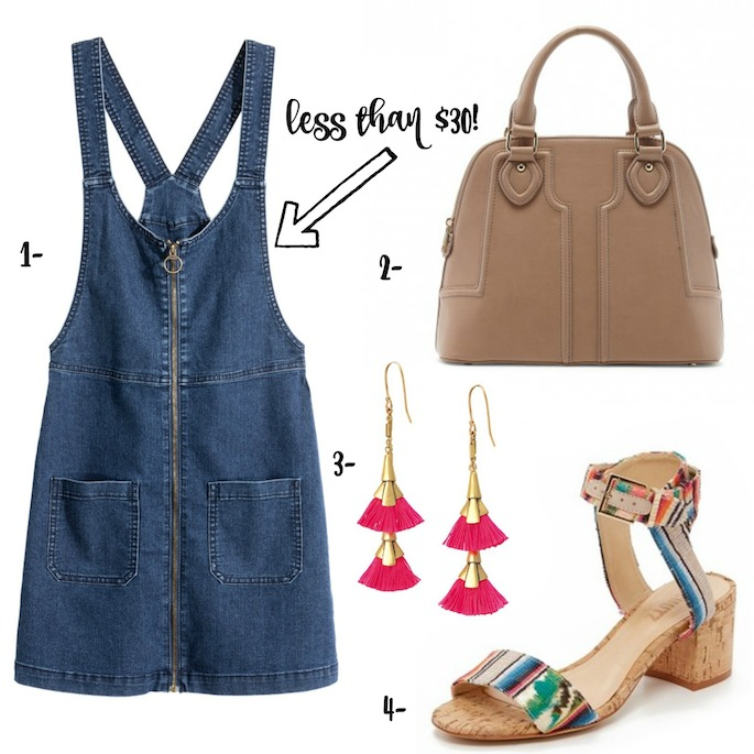 Wardrobe Wednesday - Denim Dress from H&M paired with bright accessories for spring/summer