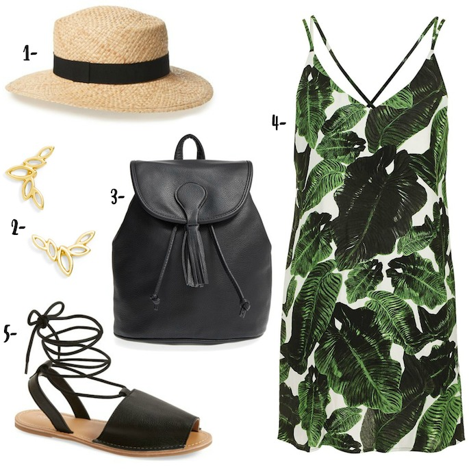 The perfect tropical tourist outfit for summer beach trips! Palm Print Dress, comfortable lace-up flats, a straw hat, and a faux leather backpack!