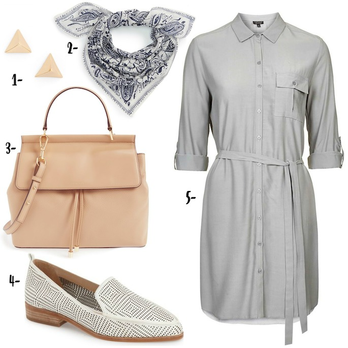 Styling the summer shirt dress | Grey shirt dress with a bandana and cut out loafers