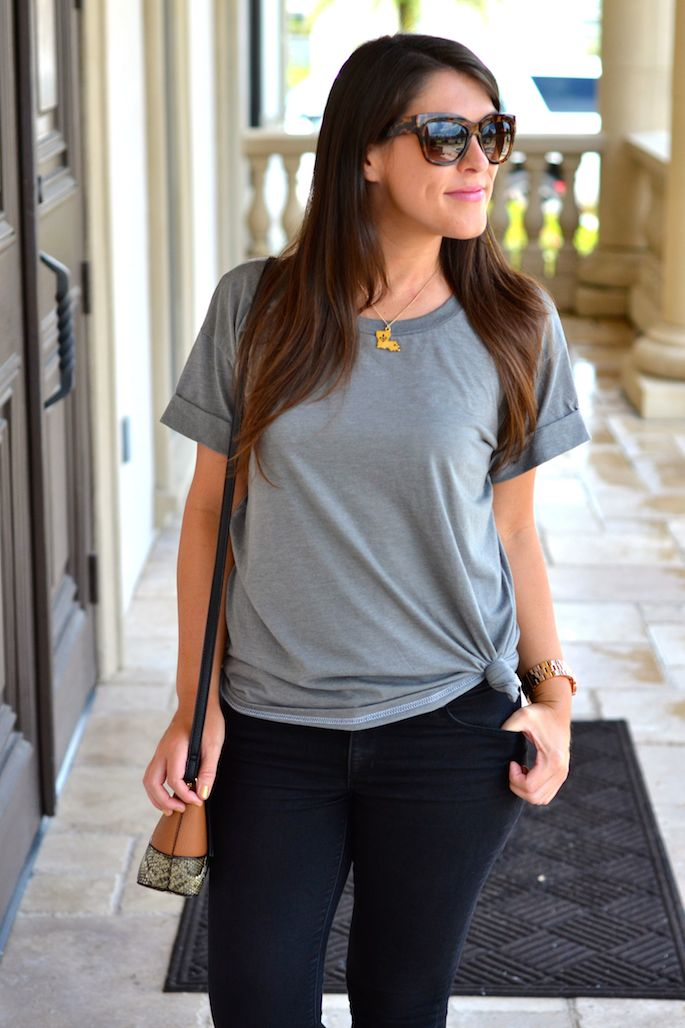 Baton Rouge-based Woolly Threads Rollup tied up knotted tshirt | Southern Flair