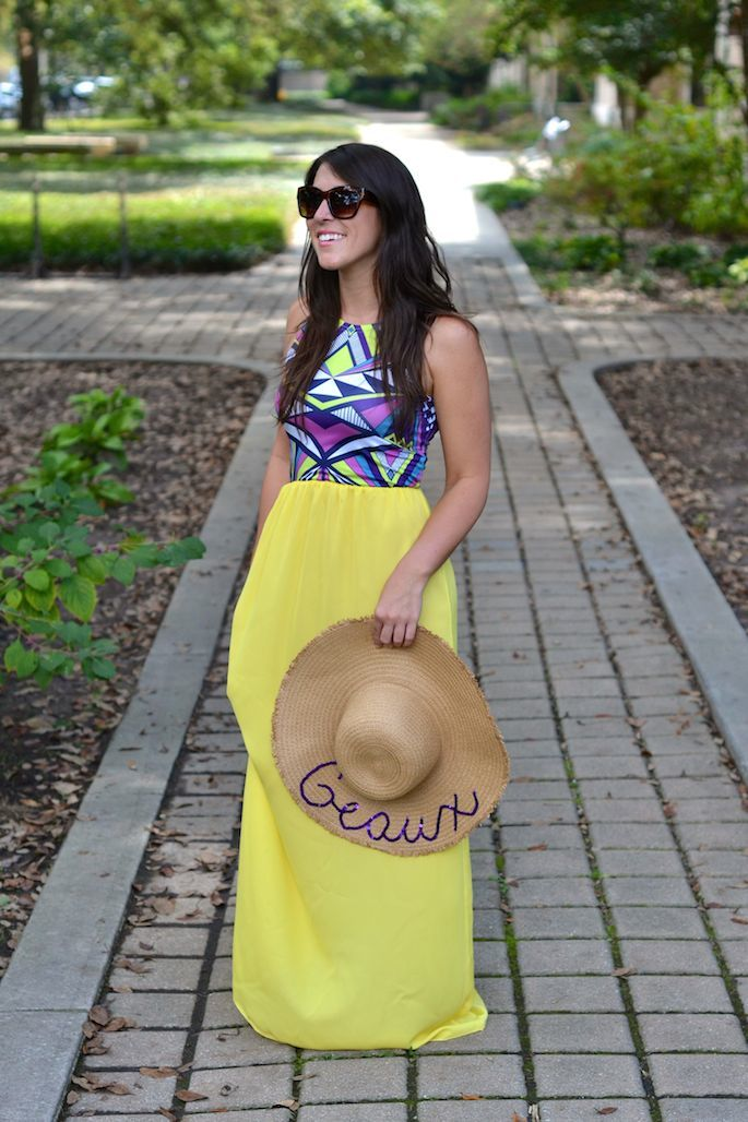 357e82a5e5926 DIY GEAUX Text Floppy Hat with Sequin Writing -- perfect for LSU football  season!