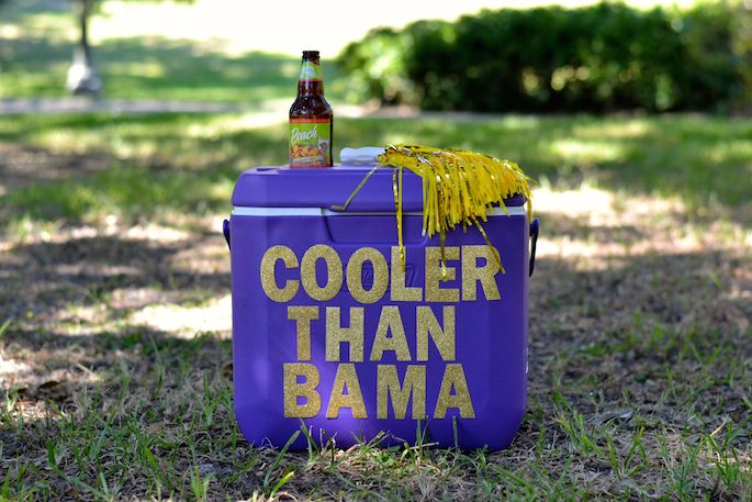 LSU Inspired Cooler Than Bama Ice Chest - easy DIY that's perfect for tailgating season!