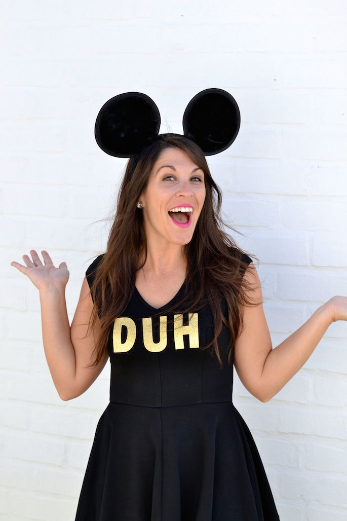 Easy Mean Girls 'I'm A Mouse, Duh' Halloween Costume! Pair of mouse ears, black dress and glitter letters! See more in this post!