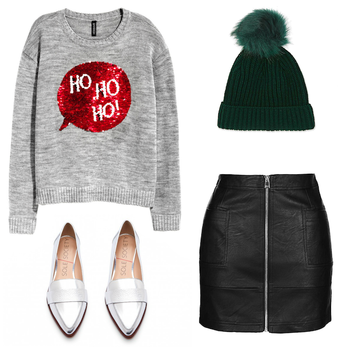 Ugly Christmas Sweaters That Aren't That Ugly - Ho Ho Ho Sweater with Leather Skirt and Beanie