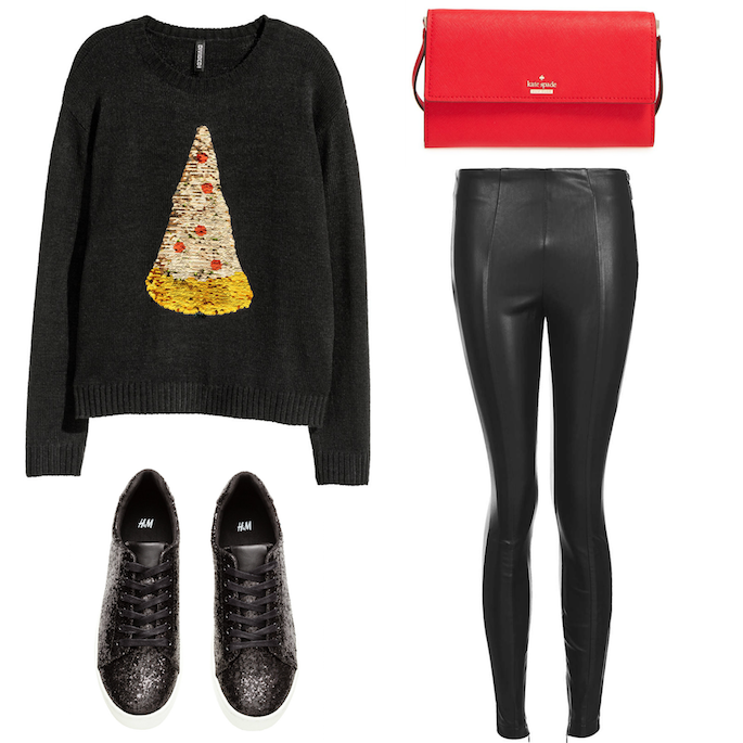 Pizza Christmas Tree Sweater - Leather Leggings, Kate Spade Cross Body, Glitter Sneakers