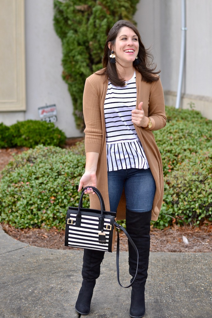 Love this winter go-to outfit! Peplum Stripe Top with Tan Duster and Over the knee boots