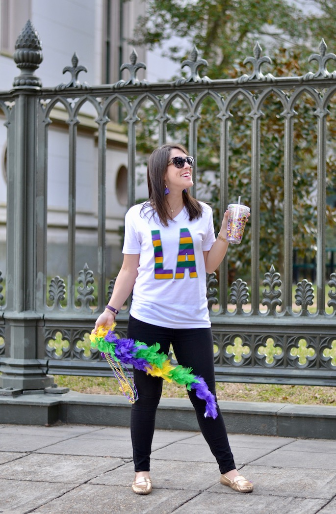 What to wear to a Mardi Gras Parade by Southern Flair | Louisiana Stripe Tee by SFT