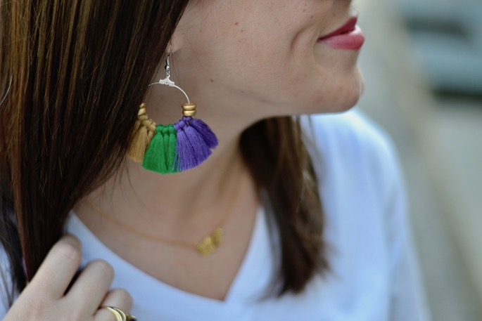 What to wear to a Mardi Gras Parade by Southern Flair | Purple Green Gold Tassel Earrings by Rebl Creative in Baton Rouge, Louisiana