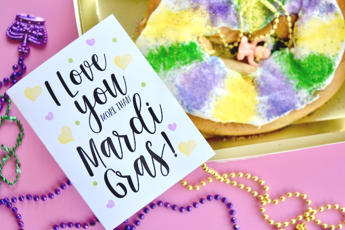 This free I Love You More Than Mardi Gras Valentine Card is PERFECT for anyone in Louisiana! Get it for free on Southern Flair!