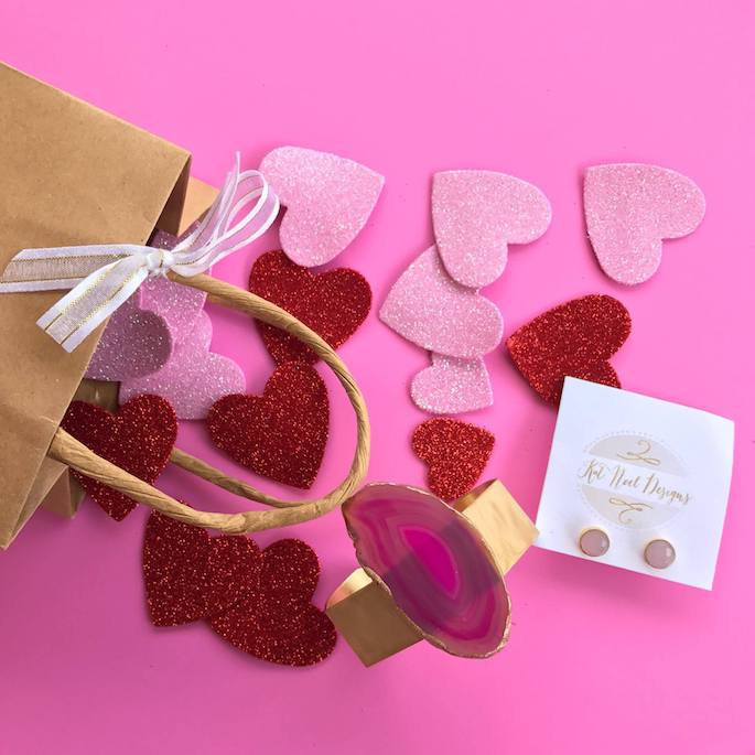 Galentine's Giveaway! Win a Kat Noel Designs pink cuff and stud earrings created by Katie Jenkins in Baton Rouge Louisiana!