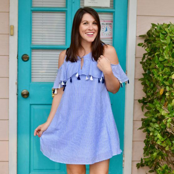 Copper Key Striped Dress with Tassels and popover ruffle