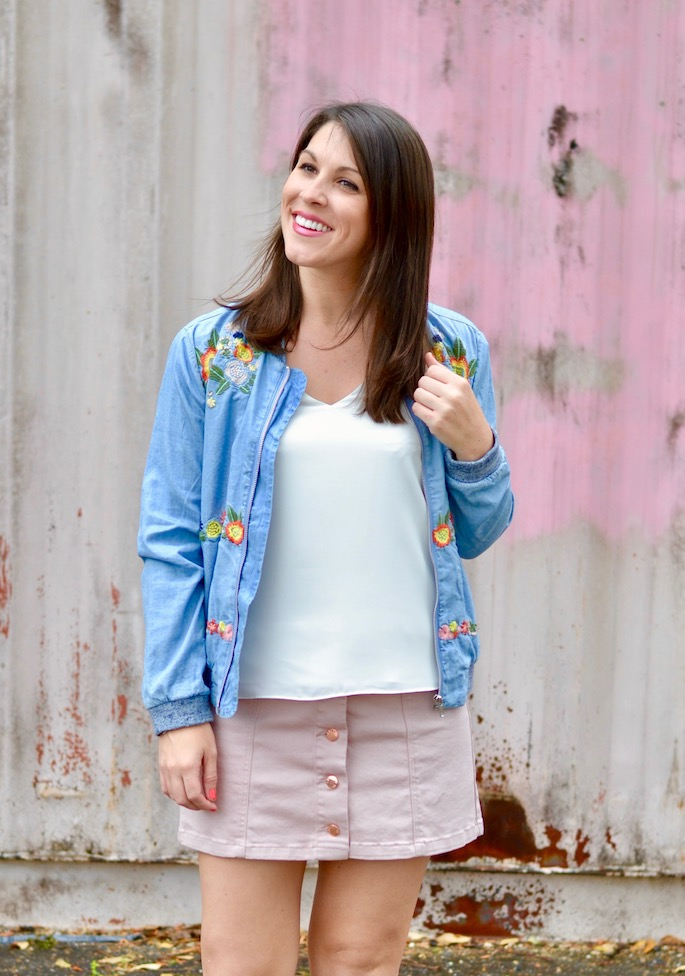 For week 1 of the style version of the Mannequin Challenge, I went with a bold, bright look. I loved this embroidery denim jacket and yellow mules! I paired them with a basic white top and blush pink denim skirt.