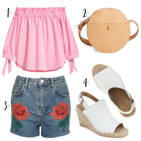 Such a fun spring time look for Wardrobe Wednesday! Rose embroidered shorts, pink off the shoulder gingham top with round bag and white mules!