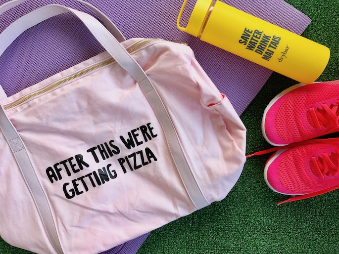 After This We're Getting Pizza! Bando Bag + Yoga Mat & Weights | Sharing my workout routine, plus five tips to get you to the gym!