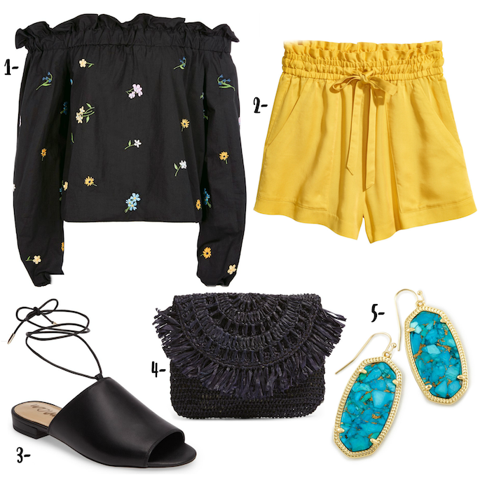 Wardrobe Wednesday - Creating the perfect Spring Break look - Floral Embroidered top with yellow shorts and lace up mules! Shop the look on Southern Flair!