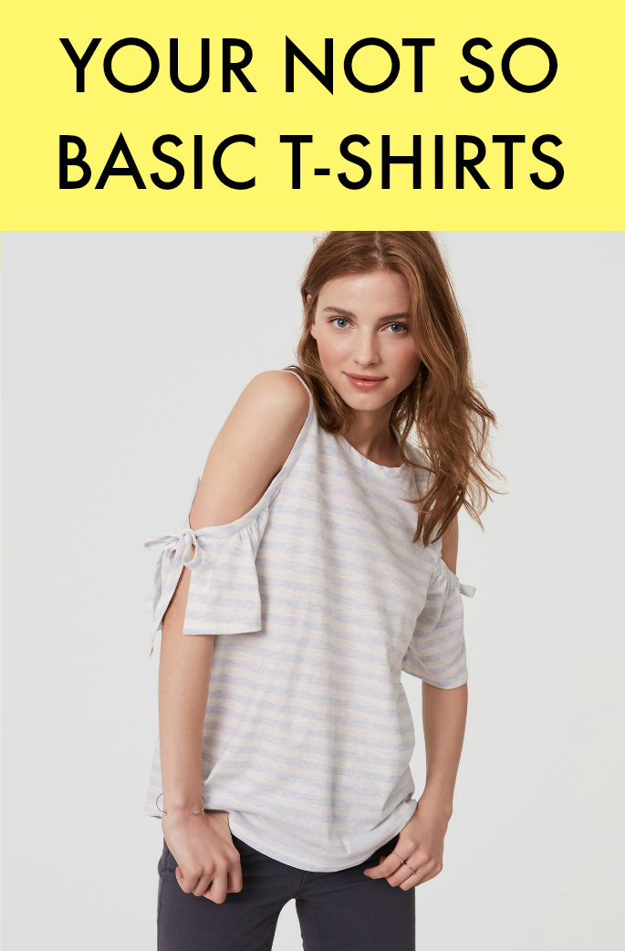 T-shirts are getting a fun spin this spring and summer. These not so basic tees have cold-shoulders, peplum hems, stripes, patterns, tied fronts, keyhole necklines and more!