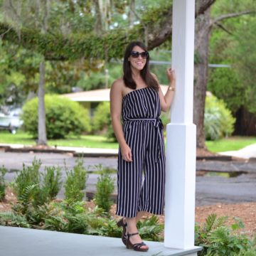 One-piece stripe jumpsuit is perfect for summer travel!