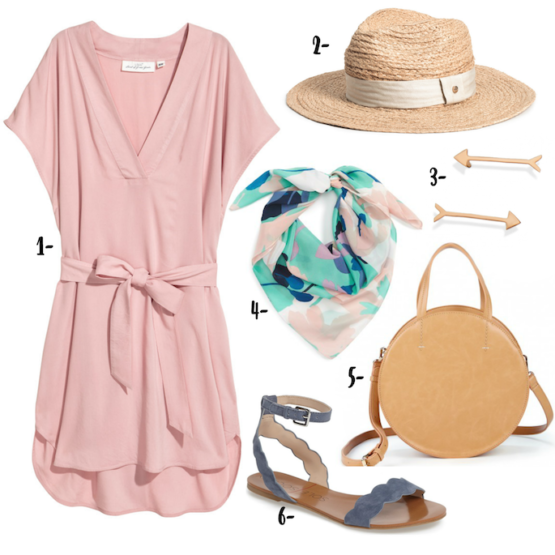 V-Neck Pink Dress with a straw hat, printed scarf, Canteen bag and flat sandals makes the perfect summer tourist outfit!
