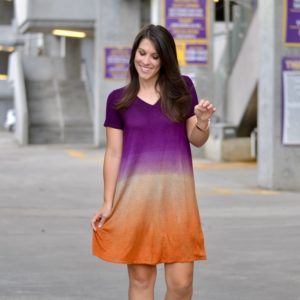 Tie Dye Purple & Gold Dress - Perfect for LSU Game Day and Tailgating for football season