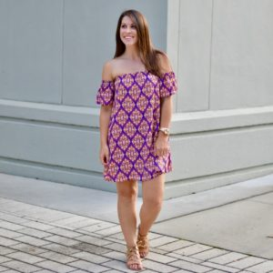 Purple and gold game day print dress
