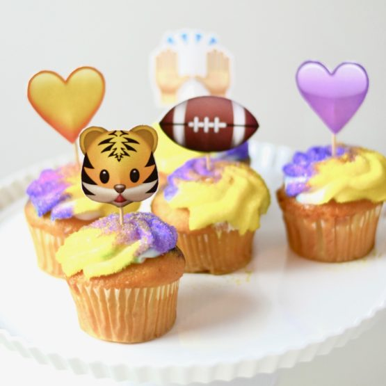 DIY LSU Football themed cupcake toppers -- the cutest little tailgate treat!
