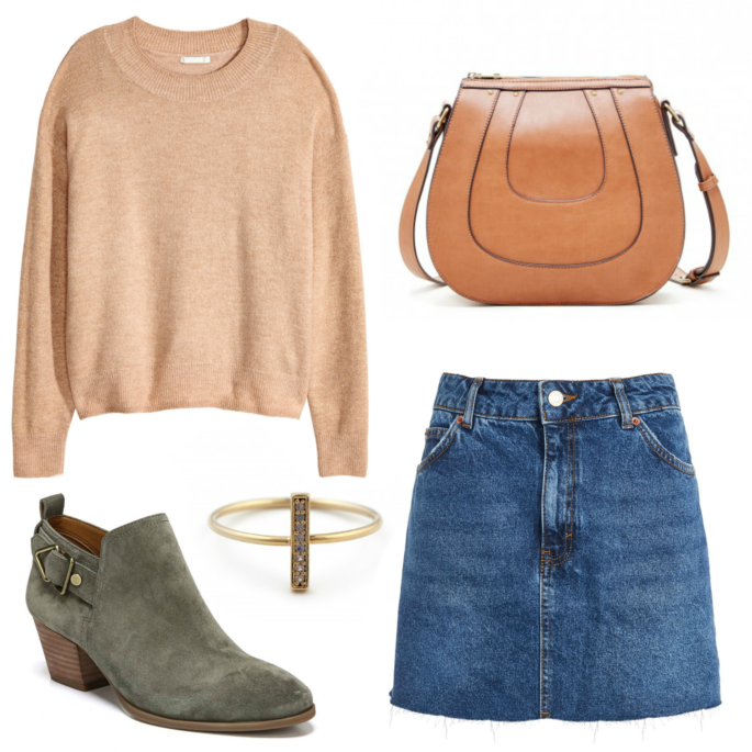 Wardrobe Wednesday: Pairing a sweater with a denim mid skirt and ankle booties for the perfect fall transition look in Louisiana.