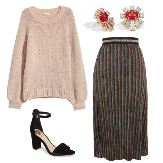 How to style an oversized sweater with a pleated skirt