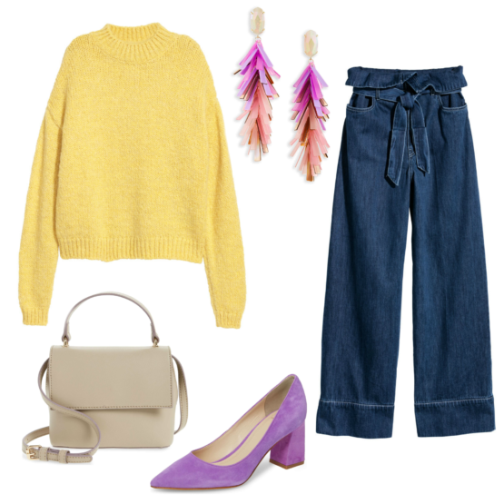 A colorful yellow sweater and pops of bright color for winter