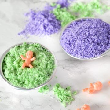 DIY Surprise King Cake Baby Bath Bombs - Mardi Gras