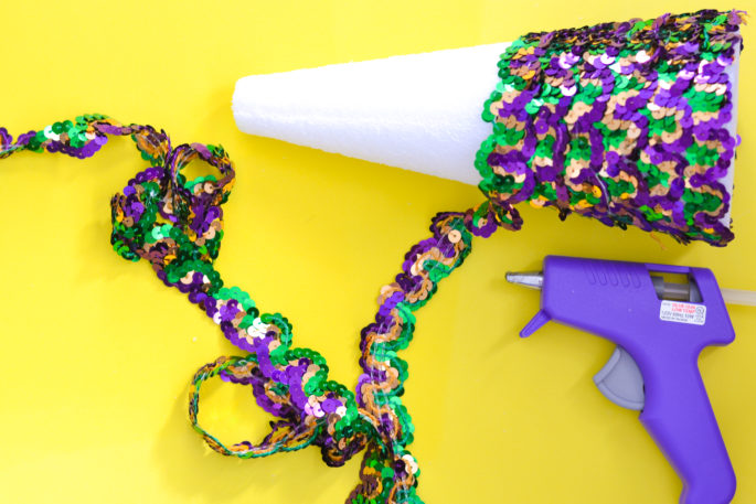 DIY Mardi Gras Sequin Tree
