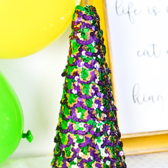 DIY Mardi Gras Sequin Tree
